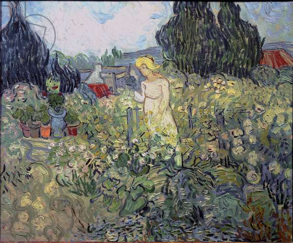 Miss Gachet in her garden at Auvers sur Oise (Auvers-sur-Oise) - Mademoiselle Marguerite Gachet (1871-1949), daughter of Dr. Paul Gachet, June 1890 (Oil on canvas)