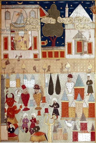 Festivities organized on the occasion of the circumcision of the son of the Ottoman Sultan Murad II (Murat) (1404-1451), preparation of fireworks Miniature of the 16th century Istanbul, Topkapi Sarayi Museum Library