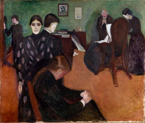 Death in the Chamber of the Sick Painting by Edvard Munch (1863-1944), 1893 Sun. 134,5x160 cm Oslo, Kommunes Kunstsamlinger Munch-Museet (Musee Munch)