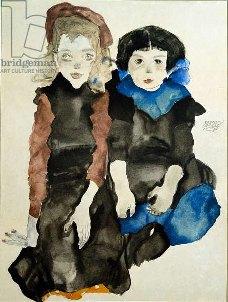 Kids. Drawing by Egon Schiele (1890-1918), 1911. Pencil and watercolor on paper. Dim: 41x32cm. Vienna, Graphische Sammlung Albertina
