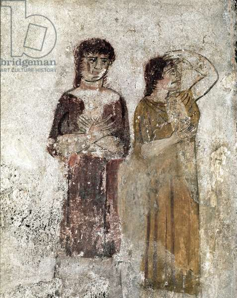 Portrait of two women Lucanian fresco from the 4th century BC, from the Tomb of the Horseman, site of Paestum, Italy. Museo nazionale archeologico, Paestum