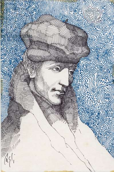 Praise of Folly (Portrait of Erasmus of Rotterdam), 1964 (coloured ink on rice paper)