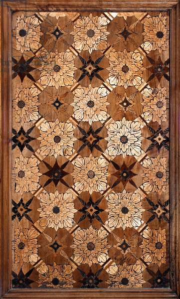 Marquetry decorated with floral motifs in wood, 1429-1481 Basilica di Santa Maria delle Grazie Milan (wood inlay decorated with floral motifs)