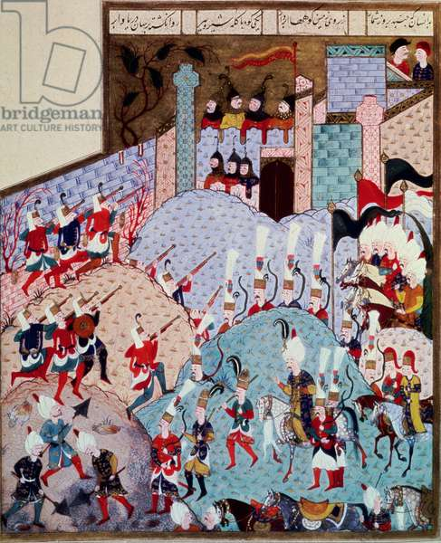Suleiman I the Magnificent and his army attacking a fortified city, 1558 (miniature)