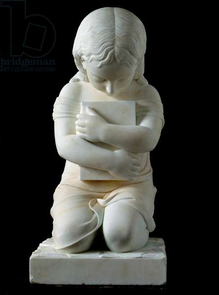 Child kneeling holding a book in his arms Anonymous 19th century marble sculpture from the collection of Prince Odon di Savoia. Dim. 63x30x30 cm Genes, Galleria d'Arte Moderna, inv. 1274