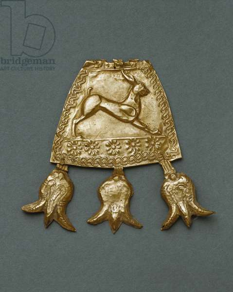 Pendant of trapezoid form, a hare running,from Noicattaro (BA)