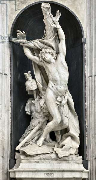 San Sebastian (St Sebastian) Sculpture by Pierre Puget (1620-1694) 1668 Genes, Basilica di Santa Maria in Carignano Italy