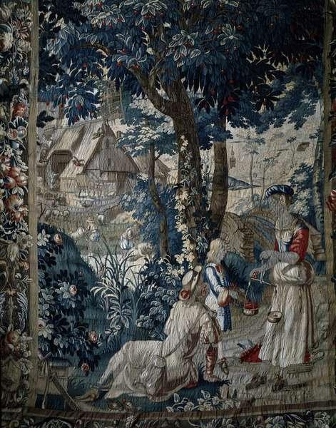 Summer and sale of cherries Tapestry depicting the Seasons. Summer, selling cherries, 18th century) Denmark, Jutland, Rosenholm Castle