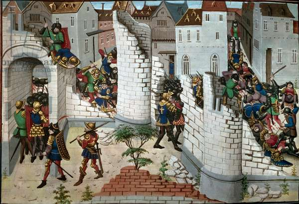 Crusade: representation of the capture of Jerusalem by the Crusades. Detail. Thumbnail from a manuscript. Library of the Arsenal Paris