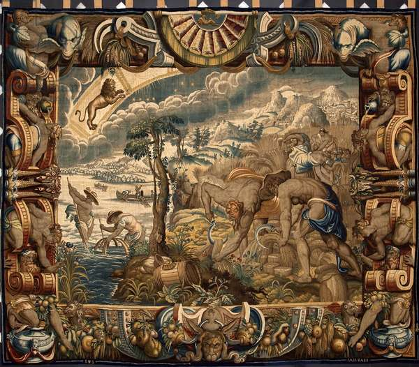 """Month of August: """"The Harvest"""""""" Tapestry by Jan Raes (active around 1610-1631) made by the manufactures of Brussels. 17th century Genes, Musei di Strada Nuova"""