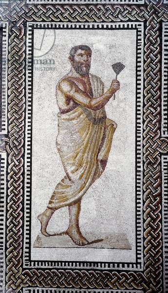 """Roman art: """""""" man with a roof 'Mosaic pavement from the Baths of Caracalla. 212 AD Rome, Museo Nazionale Romano (o delle Terme)"""