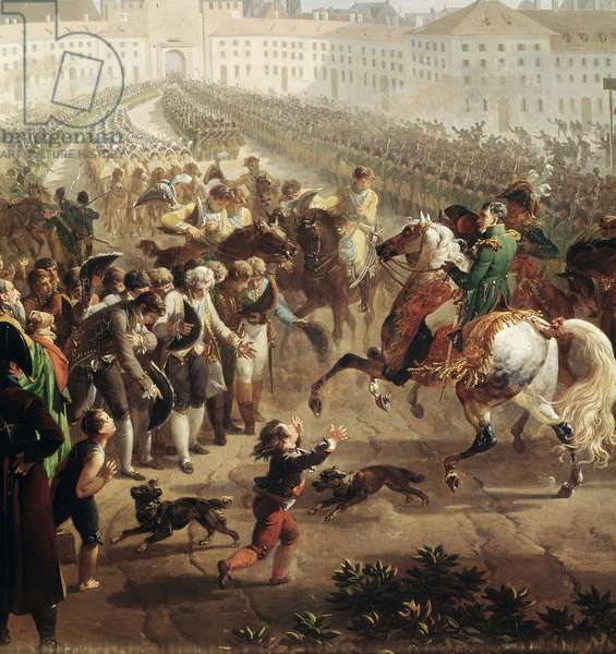 The French army, commanded by Napoleon Bonaparte, entering Munich on 24 October 1805. (Detail Painting, 19eme century)