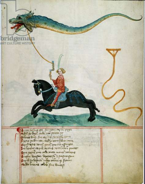 A knight holding a dragon flying deer Manuscript page of the German school of the 15th century. 1405 Gottingen, library of the University