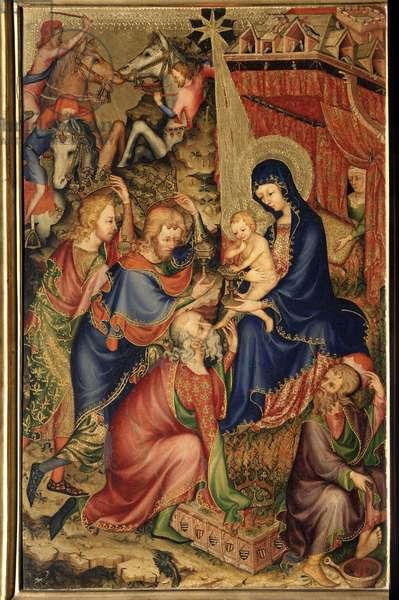 """Altarolo del Bargello (Bargello altarpiece) """""""" Adoration of the Magi"""""""" (Adoration of the Magi) Anonymous painting of the 14th century Florence, Museo Nazionale del Bargello"""