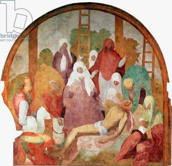 "Passion of Christ: """" the Deposition"""" Fresco by Jacopo (Iacopo) Carrucci dit il Pontormo (Pontormo) (1494-1556) 1523-1525 Sun. 300x290 cm Florence, Certosa del Galluzzo"