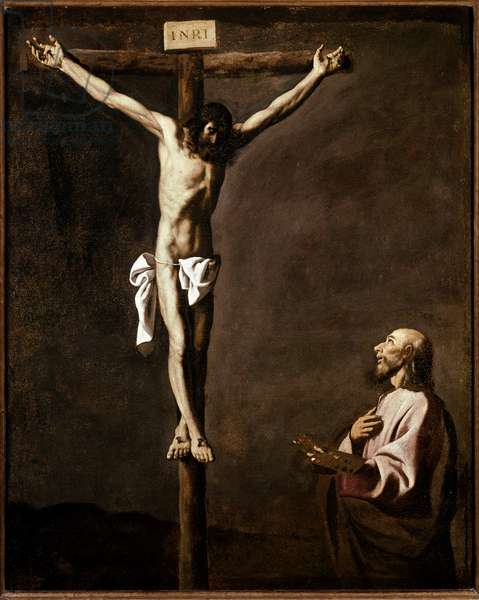 Crucifixion and painter Self-portrait of the artist in the role of Saint Luke at the foot of the cross. Painting by Francisco de Zurbaran (1598-1664) 1635-1640 Dim. 105x84 cm Madrid, Prado Museum