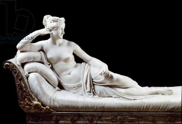 Pauline Bonaparte, Princess Borghese (1780 - 1825) sister of Napoleon I represented in Victorious Venus Marble Sculpture by Antonio Canova (1757-1822) 1804-1808 Rome, Galleria Borghese