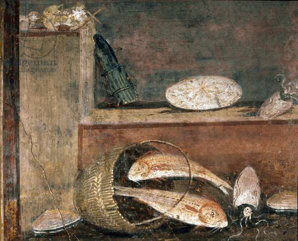 """Roman art: """""""" Still life of fish and asparagus"""""""" Detail (Roman art, Fishes and asparagus) fresco from Pompei, 1st century AD (detail of fresco from Pompeii, 1st century Ac) Naples, Museo Archeologico Nazionale, inv 8638"""