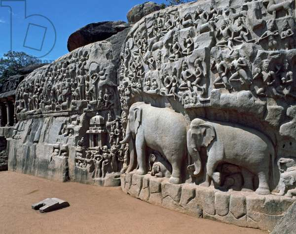 Descent of the Sacred River Ganges, from heavens to earth led by Bhagiratha (open-air relief carved of two monolithic rock boulders)