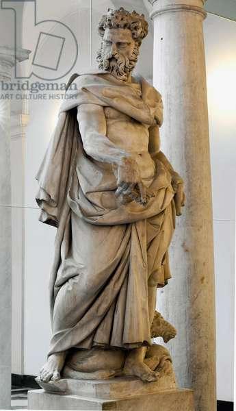 Janus White marble sculpture by Pierre Franqueville dit il Francavilla (1548-1615) 1584-1585 Genes, courtyard of Palazzo Bianco (Musei di Strada Nuova)