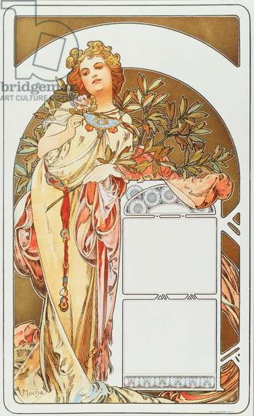 Advertising poster by Alphonse Mucha (1860-1939) for the calendar 1898 - Dim 31x51 cm Advertising poster by Alphonse Mucha for calendar, 1898 - Private collection