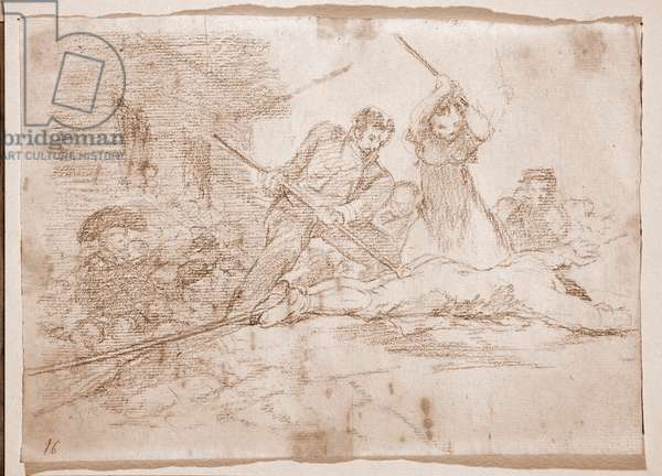 "Destres of the war: ""Populacho"""" (Populace) (Rabble) - Lynching of a traitor by the little people of the people - Preparation drawing in red pencil n°28 by Francisco de Goya y Lucientes (1746-1828) 1810-1820 Madrid Musee du Prado"