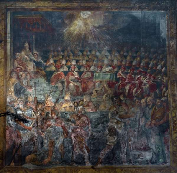 Representation of the First Council of Nicee, First Ecumenical Council, in 325, 16th century (fresco)