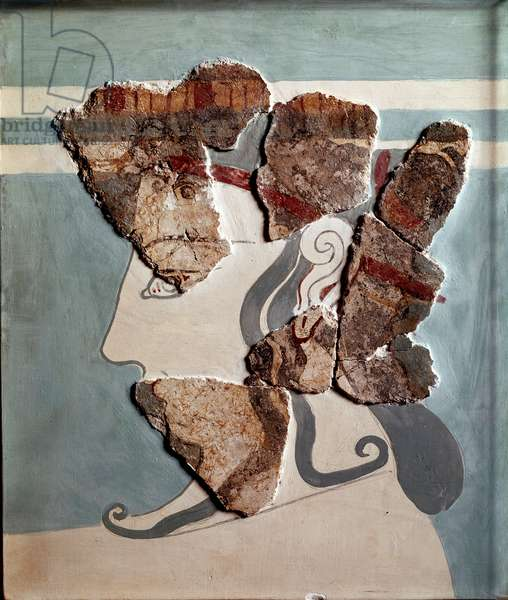 Head of a woman (fragment), from the palace of Tirynthe, 1300 BC (fresco)