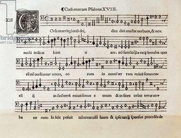 Page of musical score of Coeli enarrant psalm XVIII by Willaert (1538)