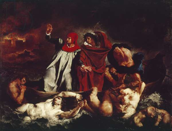 Dante's boat, from Divina Commedia by Dante Alighieri (oil on canvas, 1822)