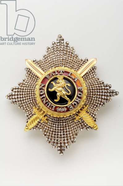 Belgium - Order of Leopold: large cord plate, military division - late 19th century
