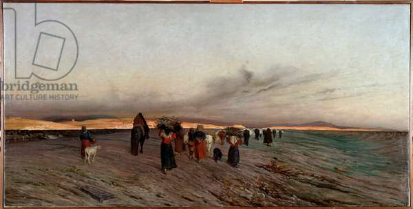 Return from pastures at dusk (oil on canvas, 19th century)