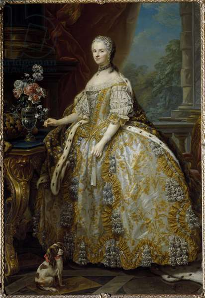 Portrait of Mary Lescszinska, Queen of France (Leczinska, Lescszinka or Leszinka, 1703-1768) Painting by Carle Van Loo (1705-1765) 18th century Florence, Palazzo Pitti