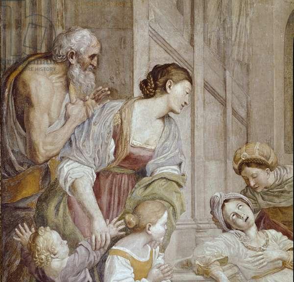 Episode of the Life of St. Cecile: Death of St. Cecilia (story of Saint Cecilia) Detail - Fresco by Domenico Zampieri dit Le Dominiquin (Domenichino) (1581-1641) 1614-1617 Rome Chiesa di San Luigi dei Francesi