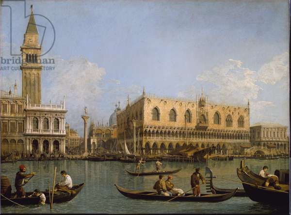 The Mole, view from the basin of Saint Mark to Venice Painting by Antonio Canal known as Canaletto (1697-1768) 18th century dim.0.53x0.71 m. Milan Pinacoteca di Brera Italy - The Molo from the basin of San Marco, Venice. Painting by Antonio Canal called Canaletto (1697-1768), 18th century. Dim.0.53x0.71 m. Milan Pinacoteca di Brera Italy