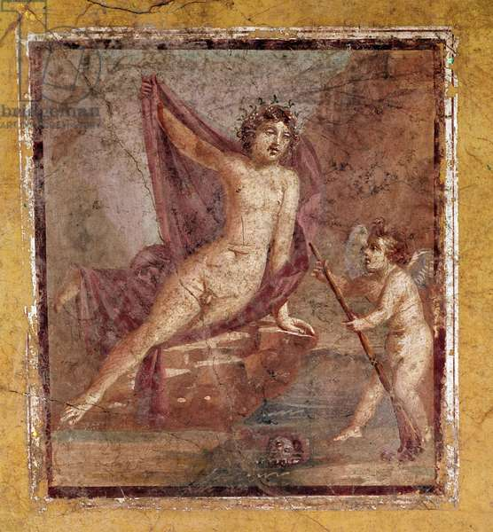 Narcissus and Eros Roman fresco of the 3rd Pompeian style from the site of the site of Pompei Italy 1st century after JC (Roman art: Narcissus and Eros, fresco from Pompeii, Italy, 1st century AD) preserved at the National Archaeological Museum of Naples Italy