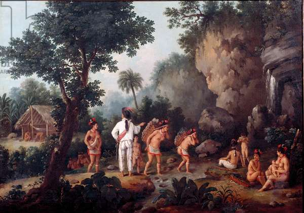 """Slavery; """""""" slave hunting"""""""""""" Indian families (from Brazil?) are taken by slave traders. Painting by Jean Baptiste Debret (1768-1848). Oil on canvas. Museum of Sao Paulo, Brazil."""
