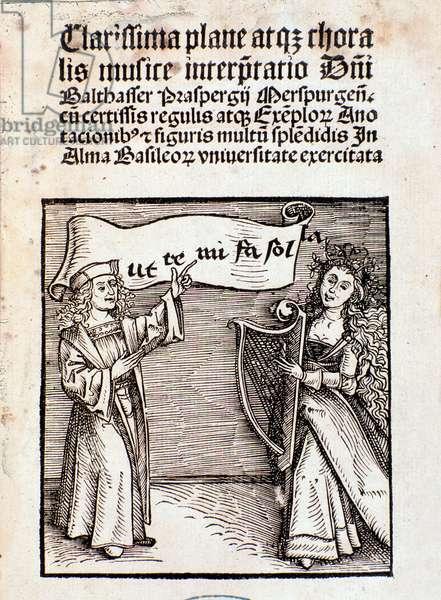 Frontispiece of Clarissima plane atque choralis musice interpretati by Prasperg, 1501