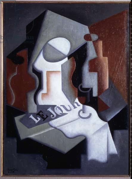 Still life with bottle and fruit bowl - oil on canvas, 1919