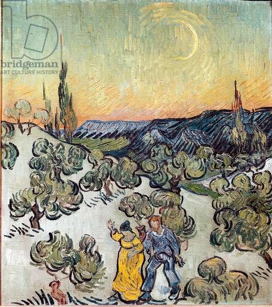Landscape at dusk (Saint Remy or Saint-Remy). Painting by Vincent Van Gogh (1853-1890), 1889. Oil on canvas. Size: 49,5x45,5cm Brazil, Sao Paulo, Museum of Fine Arts