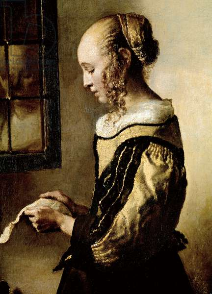 Girl at a window reading a letter Painting by Jan Vermeer (1632-1675), circa 1654 Dim 83x64,5 cm Dresden Gemaeldegalerie Alte Meister