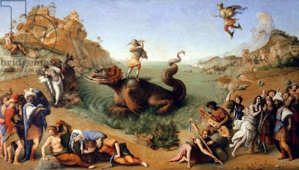 Andromede delivree by Persee. Painting by Piero di Lorenzo detto Piero di Cosimo (1461-1521), 1510. Oil on canvas. Dim: 70 x 123 cm.