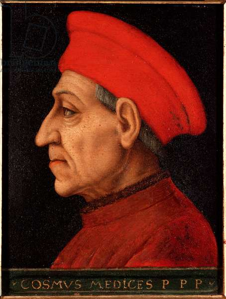 Portrait of Cosimo (Cosimo de Medici), known as Cosimo the Old Medici (1389-1464) Painting by Allori Angelo di Cosimo dit Bronzino (1503-1572) Palace Medici-Riccardi (Medici Riccardi) Florence