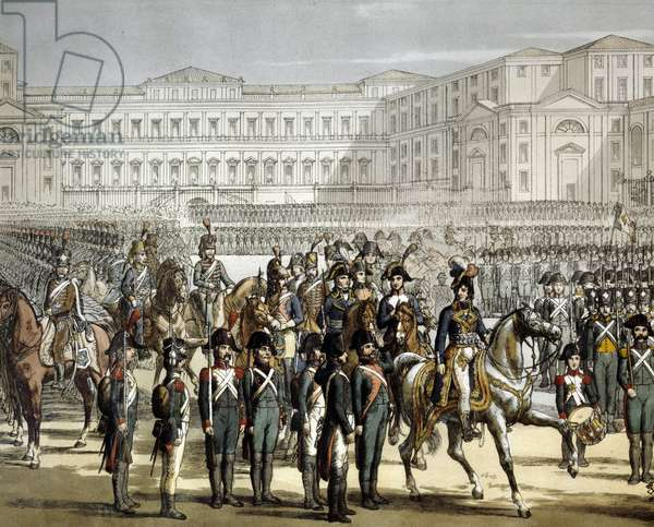 The French General and King of Naples Gioacchino (Joachim) Murat (1767-1815) reviews the Cisalpine militia in front of the Villa Reale de Monza on 07/08/1801. Engraving Museo del Risorgimento, Milan