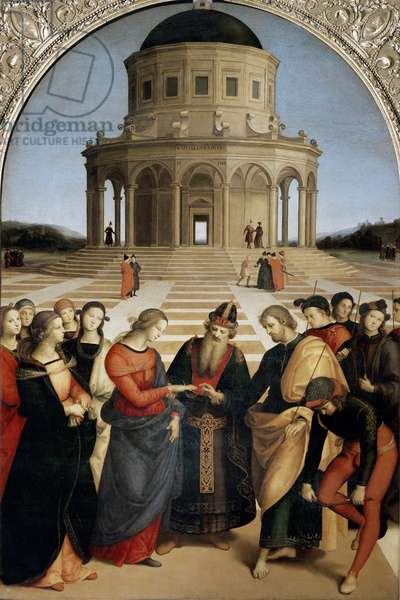 The Marriage of the Virgin - The Marriage of the Virgin. Joseph passes the covenant on the finger of the Virgin Mary before the priest who holds them by his wrists. Painting by Raphael (Raffaello Sanzio 1483 - 1520), 1504. Oil on wood, Pinacotheque de Brera, Milan.