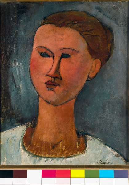 Portrait of a young woman. Painting by Amedeo Modigliani (1884-1920). Jesi Collection, Pinacoteca di Brera, Milan.
