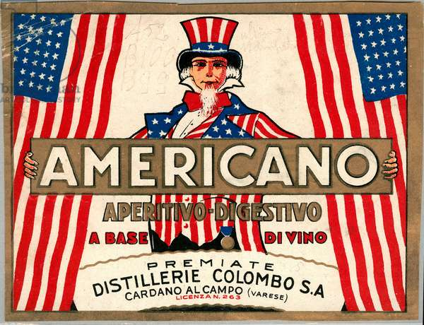 Advertisement for italian short drink Americano, with allegorical personification of America Uncle Sam, 1920s