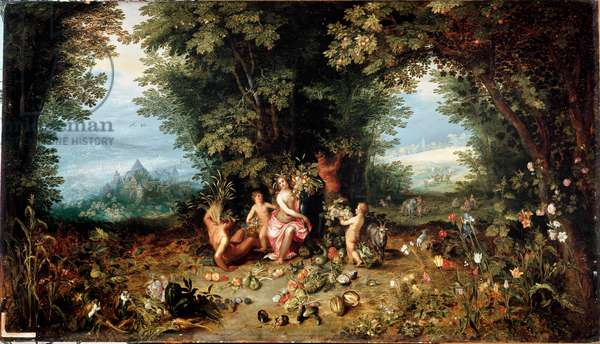 """The four elements: """"The Earth"""""""" Allegory. View of Earthly Paradise with fruits, vegetables, flowers and animals (including guinea pig (hamster) Painting by Jan Breugel Le Vieux calls Bruegel de Velvet (Brueghel or Breughel, 1568-1625) Rome Galleria Doria Pamphili"""