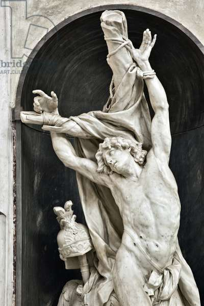 Saint Sebastian (st sebastian) Detail Sculpture by Pierre Puget (1620-1694) 1668 Genes, Basilica di Santa Maria in Carignano Italy