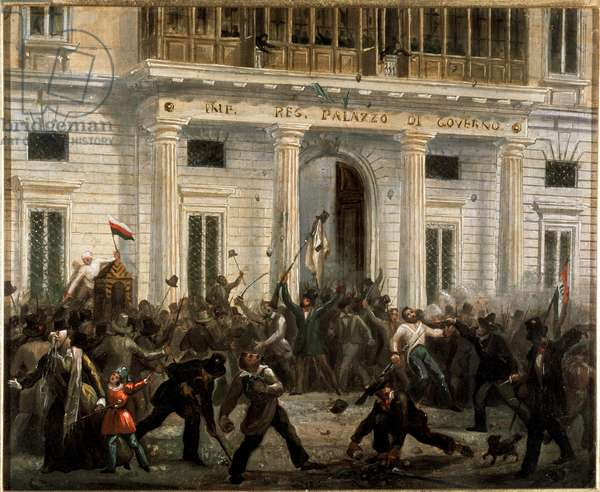 Revolutions of 1848, Five Days of Milan: insurgents take over the Palace of the Government on March 18th (painting, 19th century)